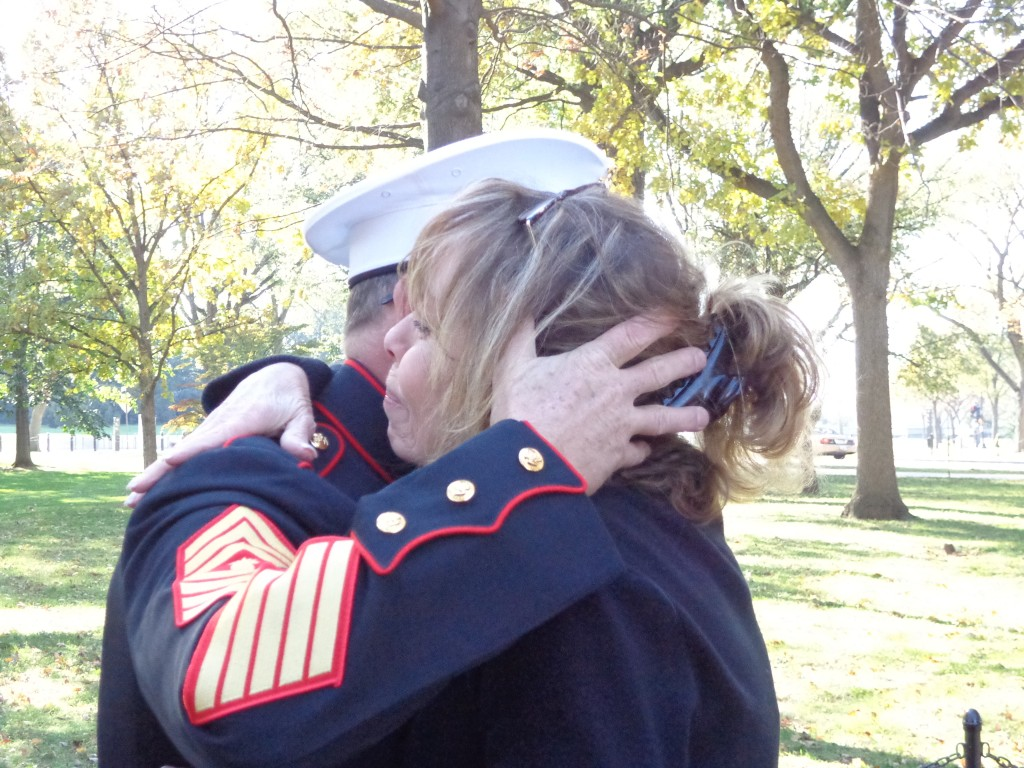 Debbie Burak with Marine, Washington DC 2012