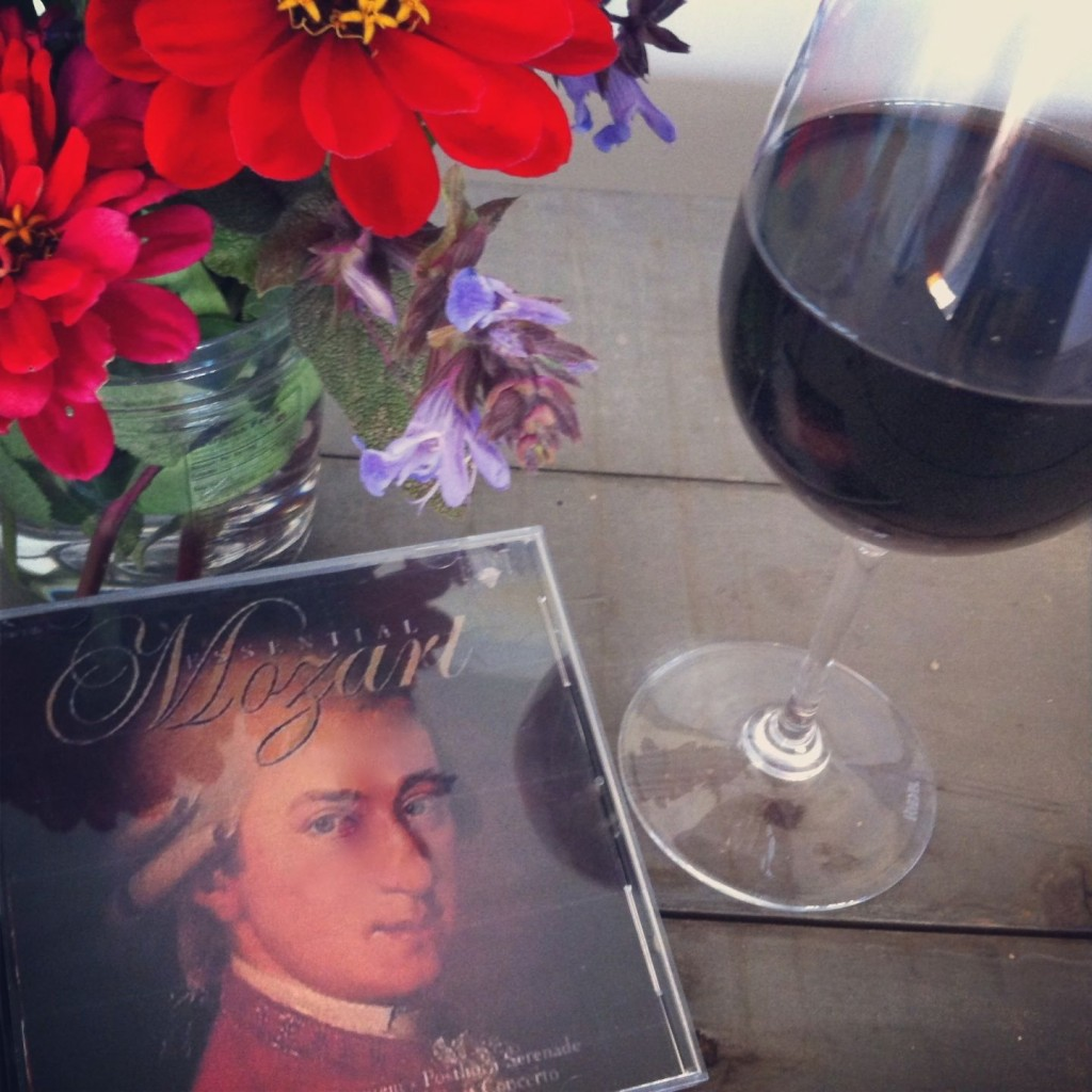 """Give me a good glass of wine, play me some Mozart..."""