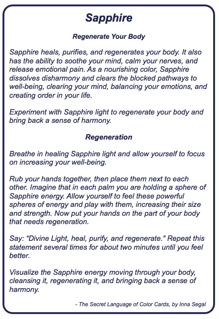 Sapphire description from The Secret Language of Color Cards by Inna Segal